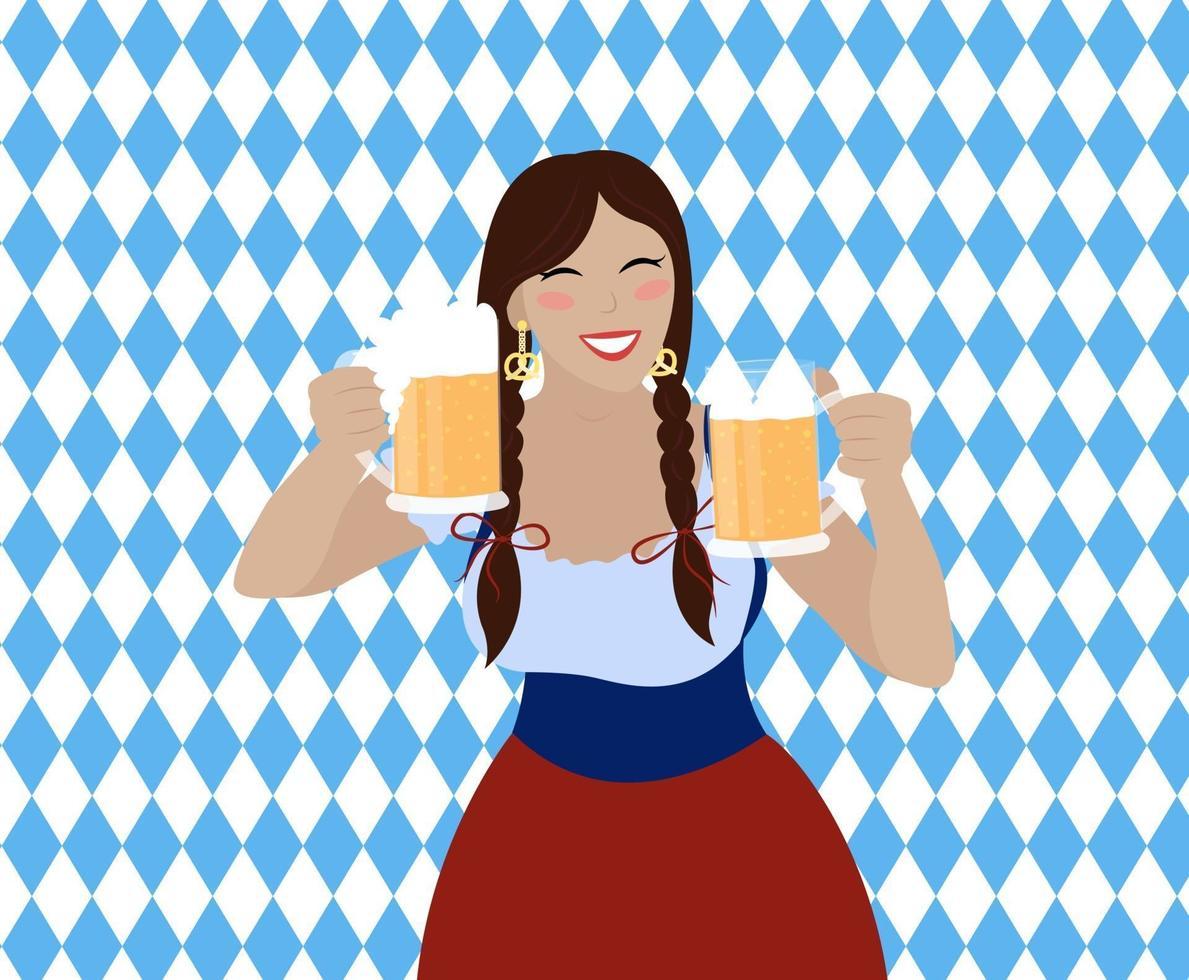 garota oktoberfest com canecas de cerveja. linda mulher em vestido bávaro vetor