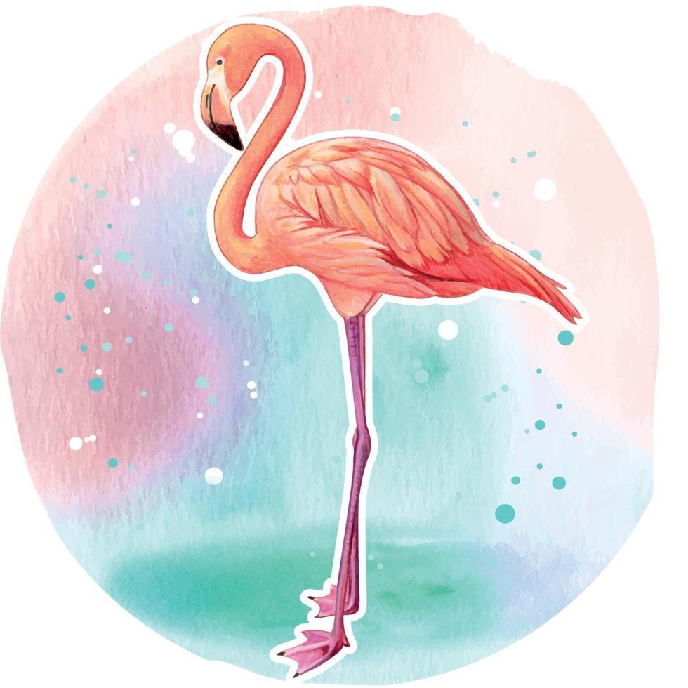 aquarela lindo flamingo rosa realista vetor