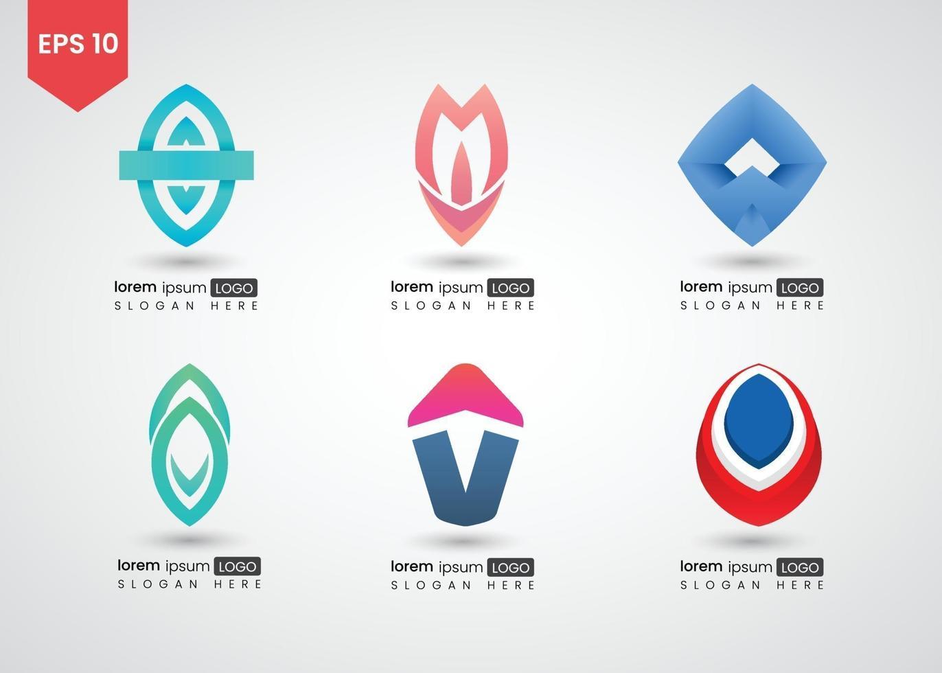 ilustração em vetor gradiente brilhante logotipo abstrato