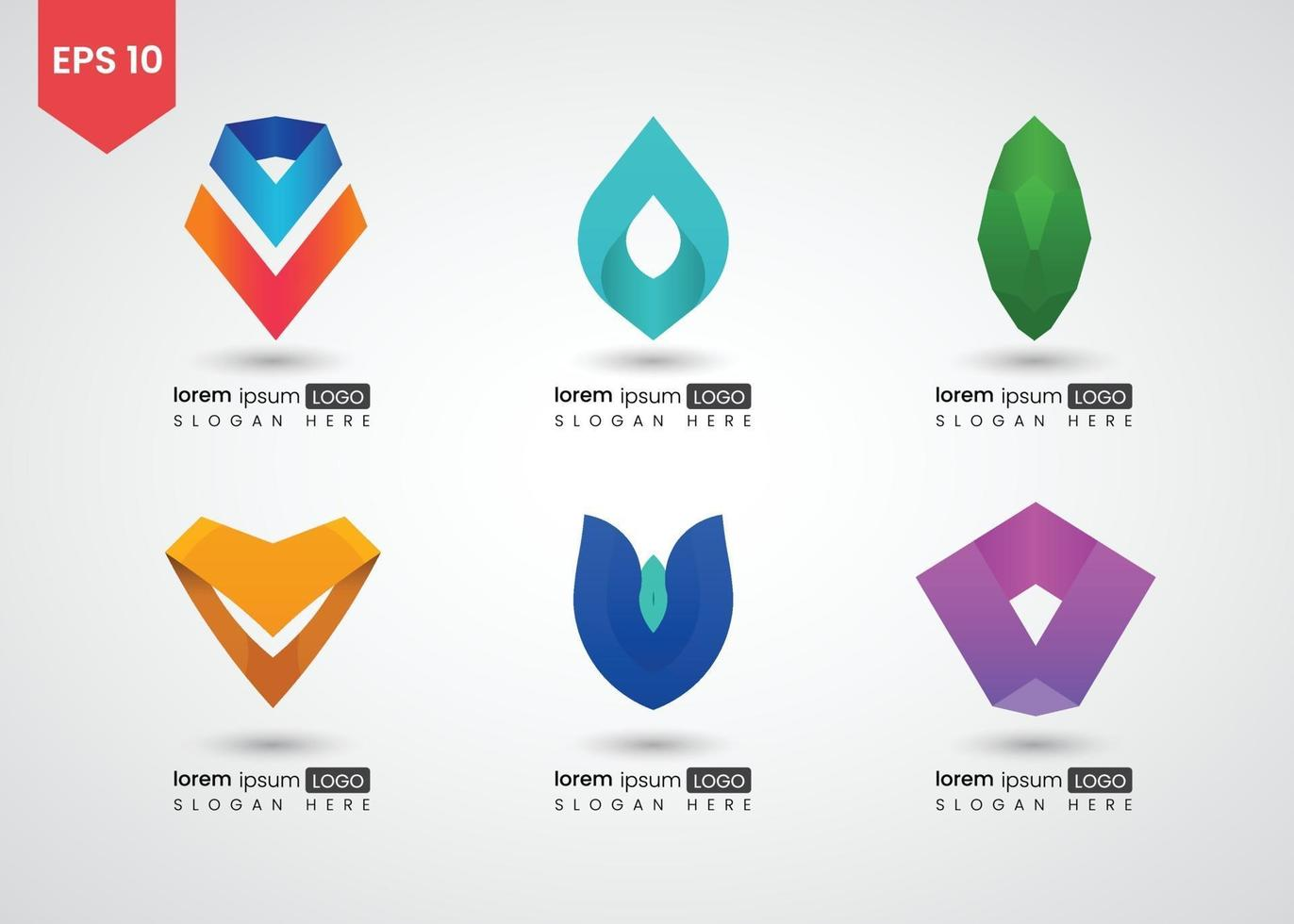 conjunto de ícones e ilustração vetorial gradiente brilhante de logotipo vetor