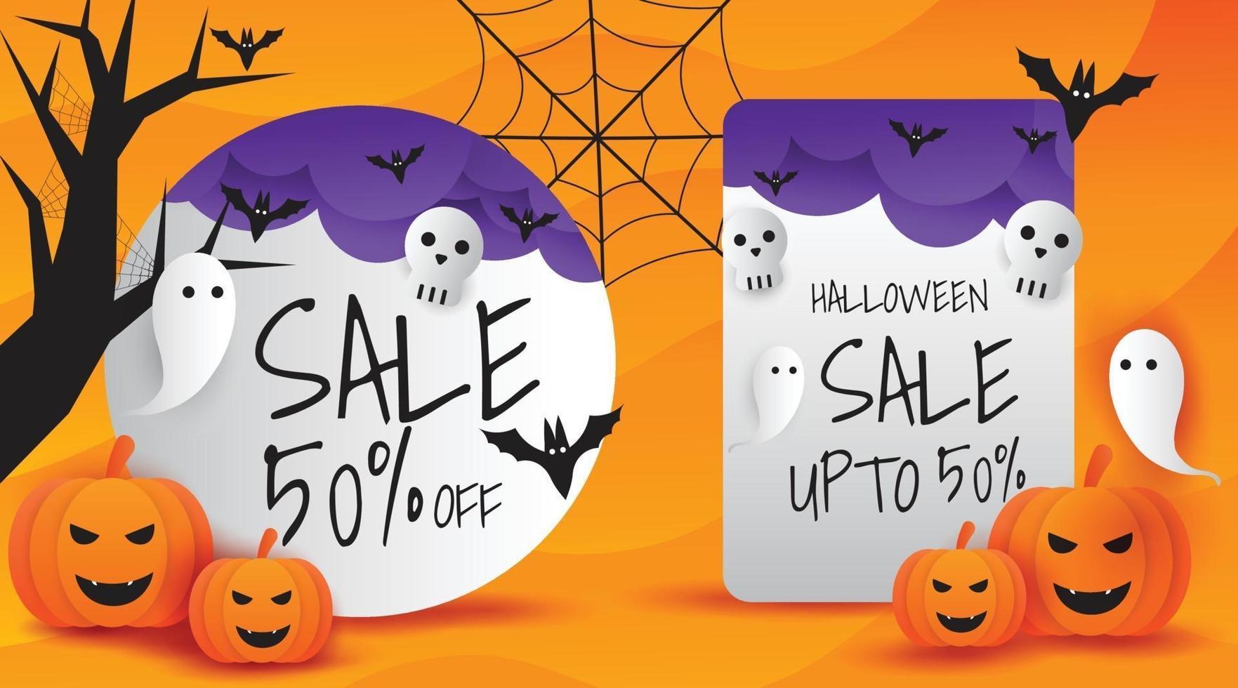 ilustração em vetor banner promoção venda halloween