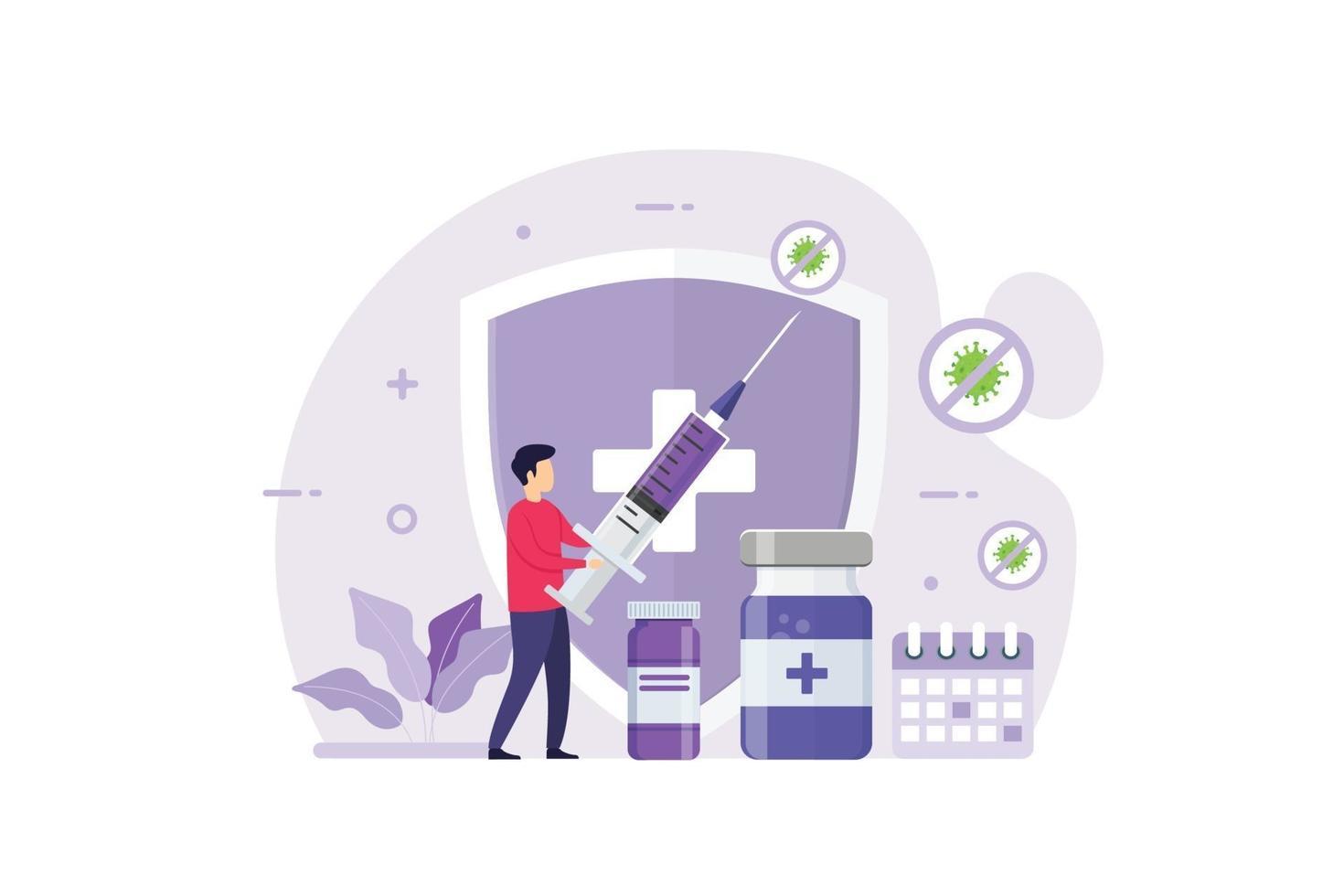 conceito de design de vacinação para imunidade e saúde vetor
