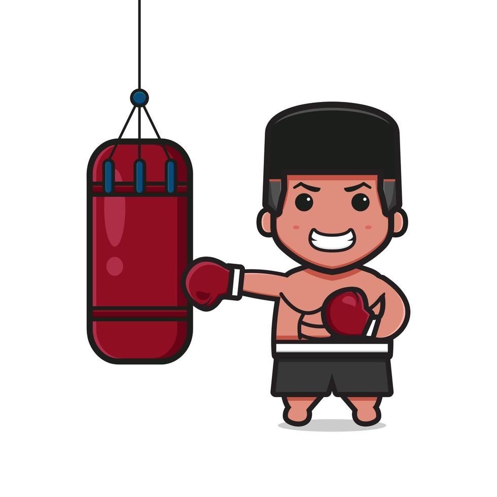 boxer fofo está dando socos no saco de areia ilustração do ícone dos desenhos animados vetor