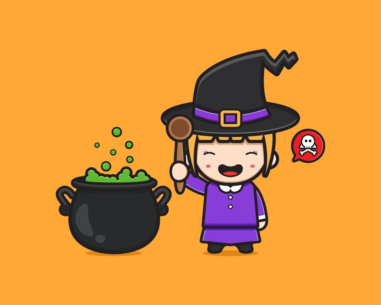 bruxa fofa cozinheira veneno vetor