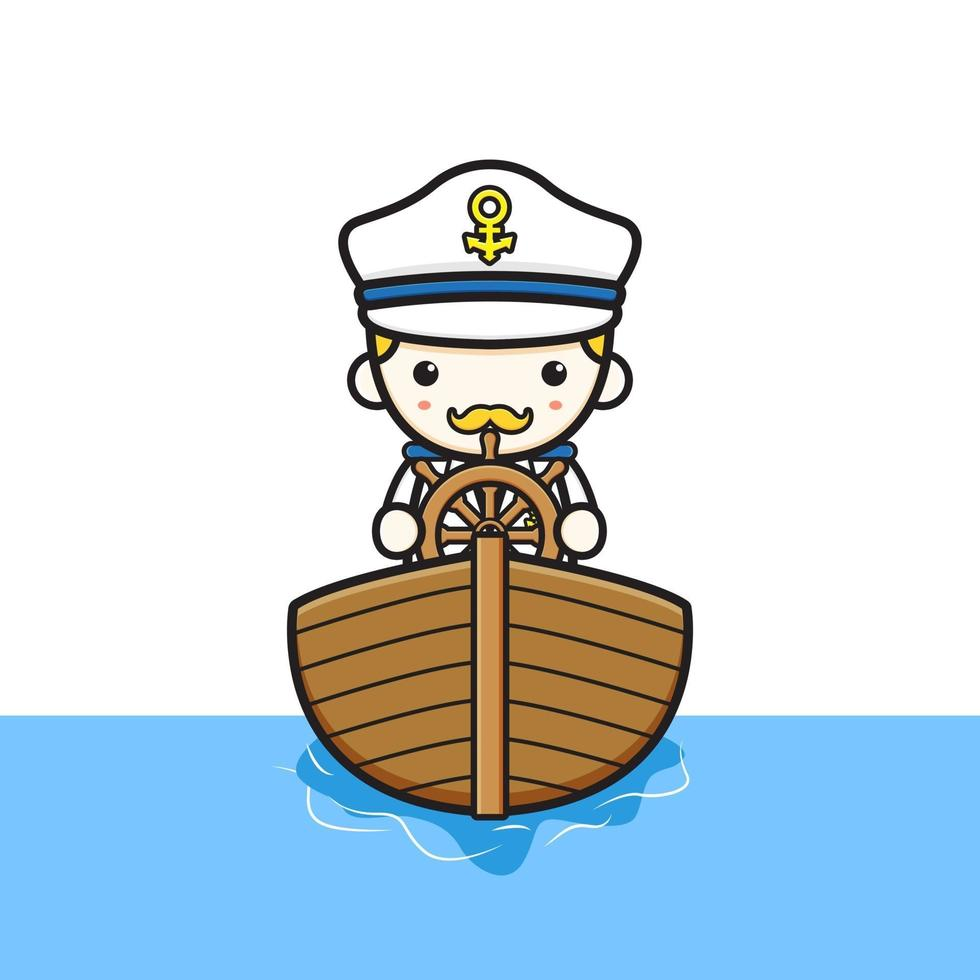 Ilustração do ícone dos desenhos animados do capitão fofo dirigindo um barco vetor