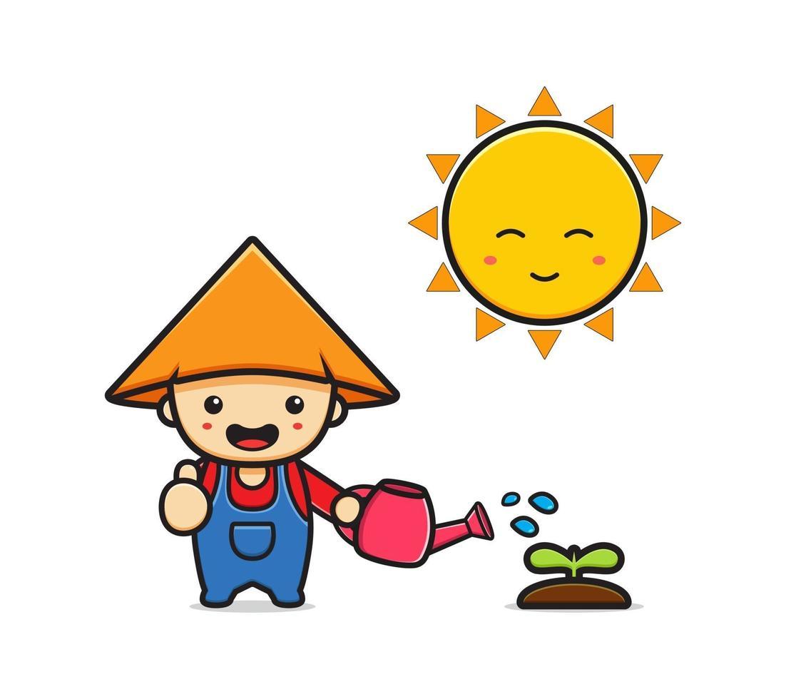 bonito fazendeiro regando a planta com ilustração do ícone dos desenhos animados do sol vetor