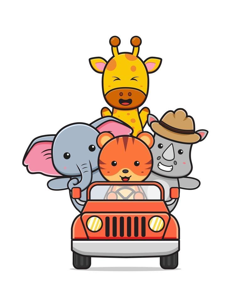 animal fofo dirigindo carro para ilustração do dia mundial dos animais vetor