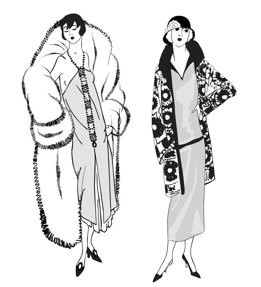vestido de mulher moda retrô definido anos 1920 anos 1930 vestido elegante para senhora vetor