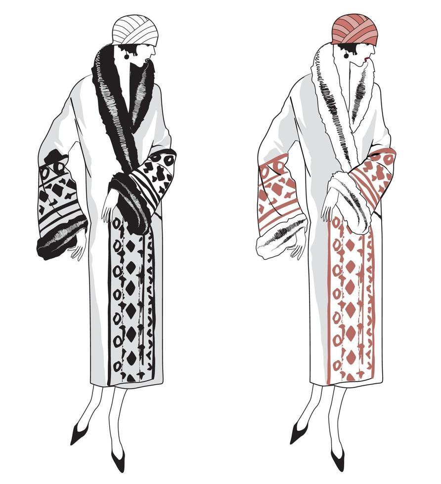 moda de inverno retrô mulher vestida de mulher moda dos anos 1920 1930 festeira vetor