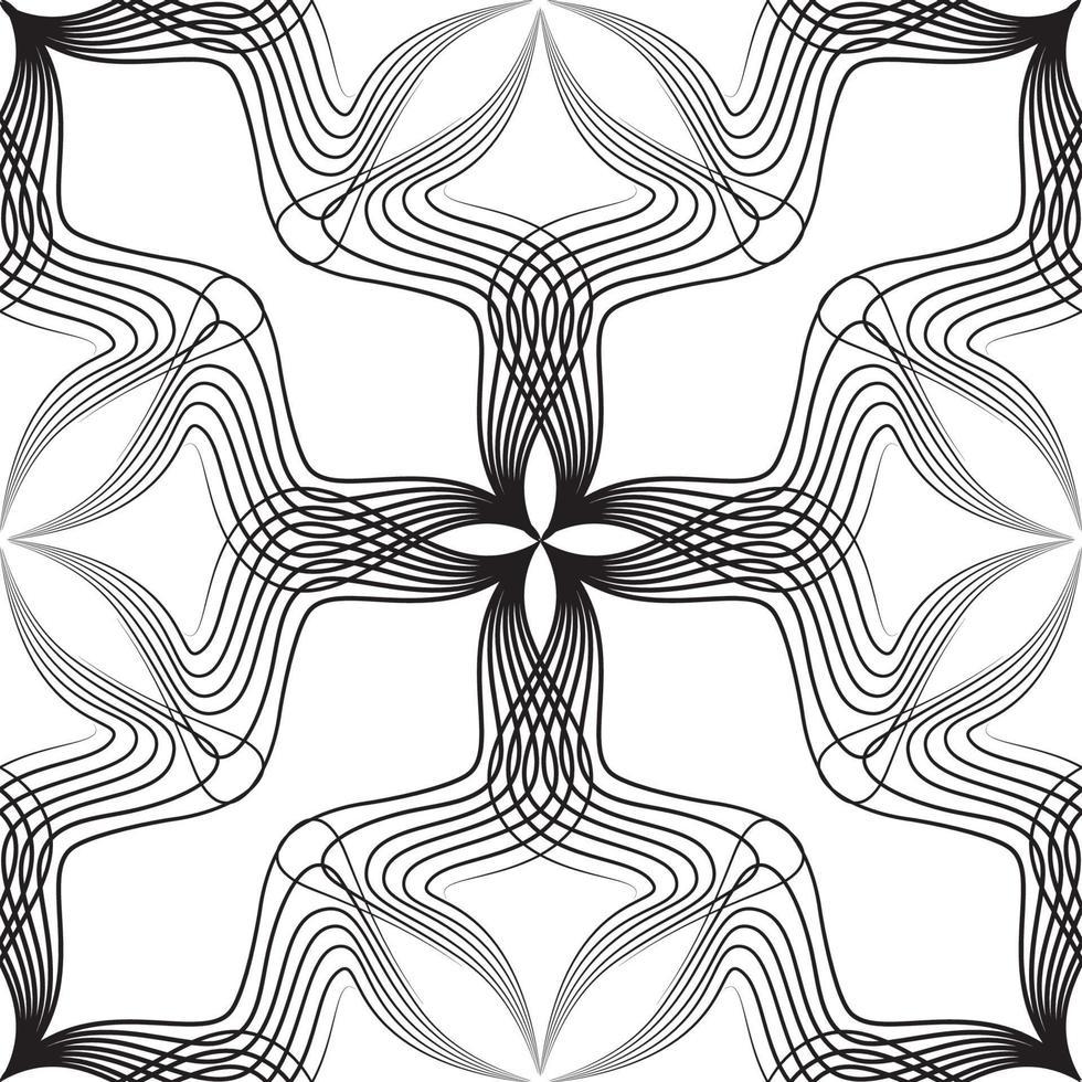 padrão sem emenda de linha abstrata. ornamento artístico com formas florais. vetor