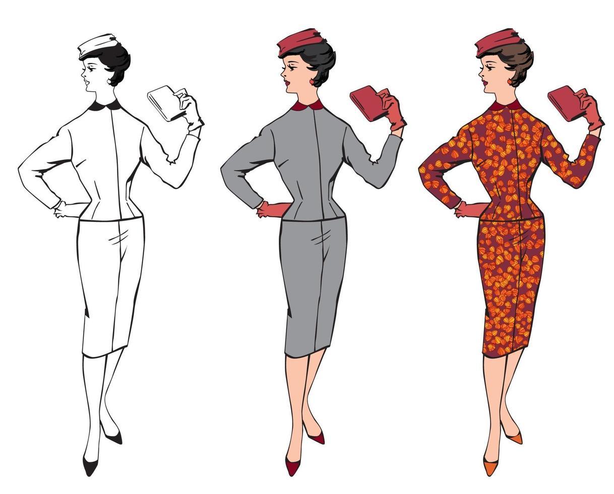 mulher elegante de pano. vestido retrô dos anos 60 com estilo business fashion vetor