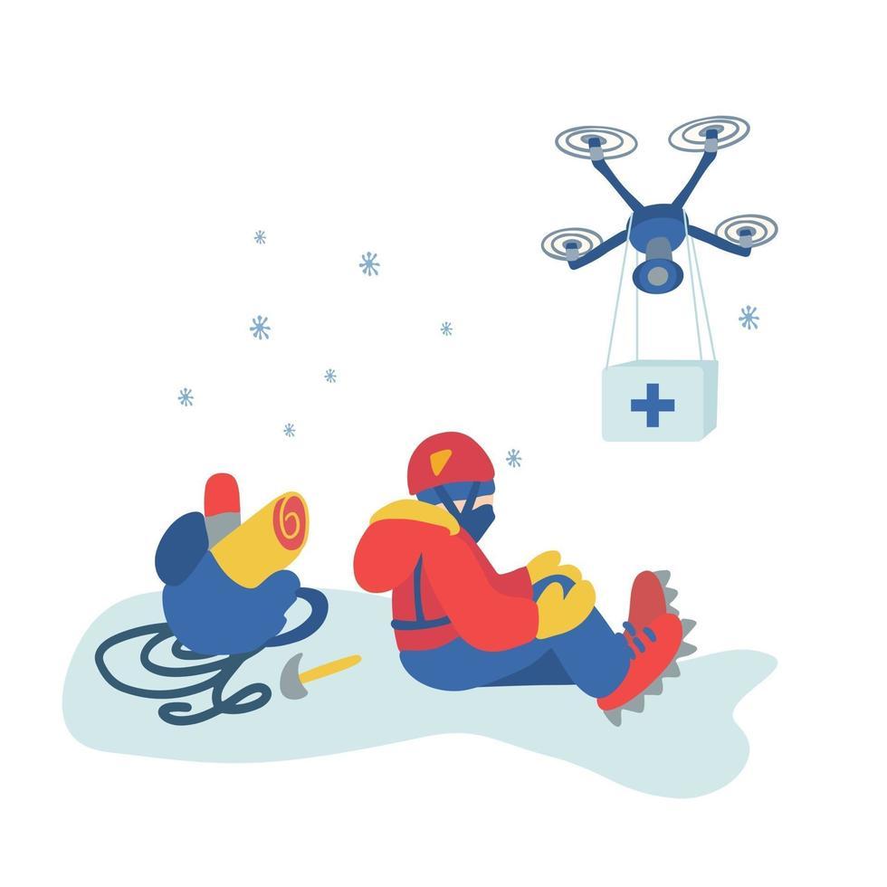 ilustração de um alpinista ferido e um drone com kit de primeiros socorros. vetor