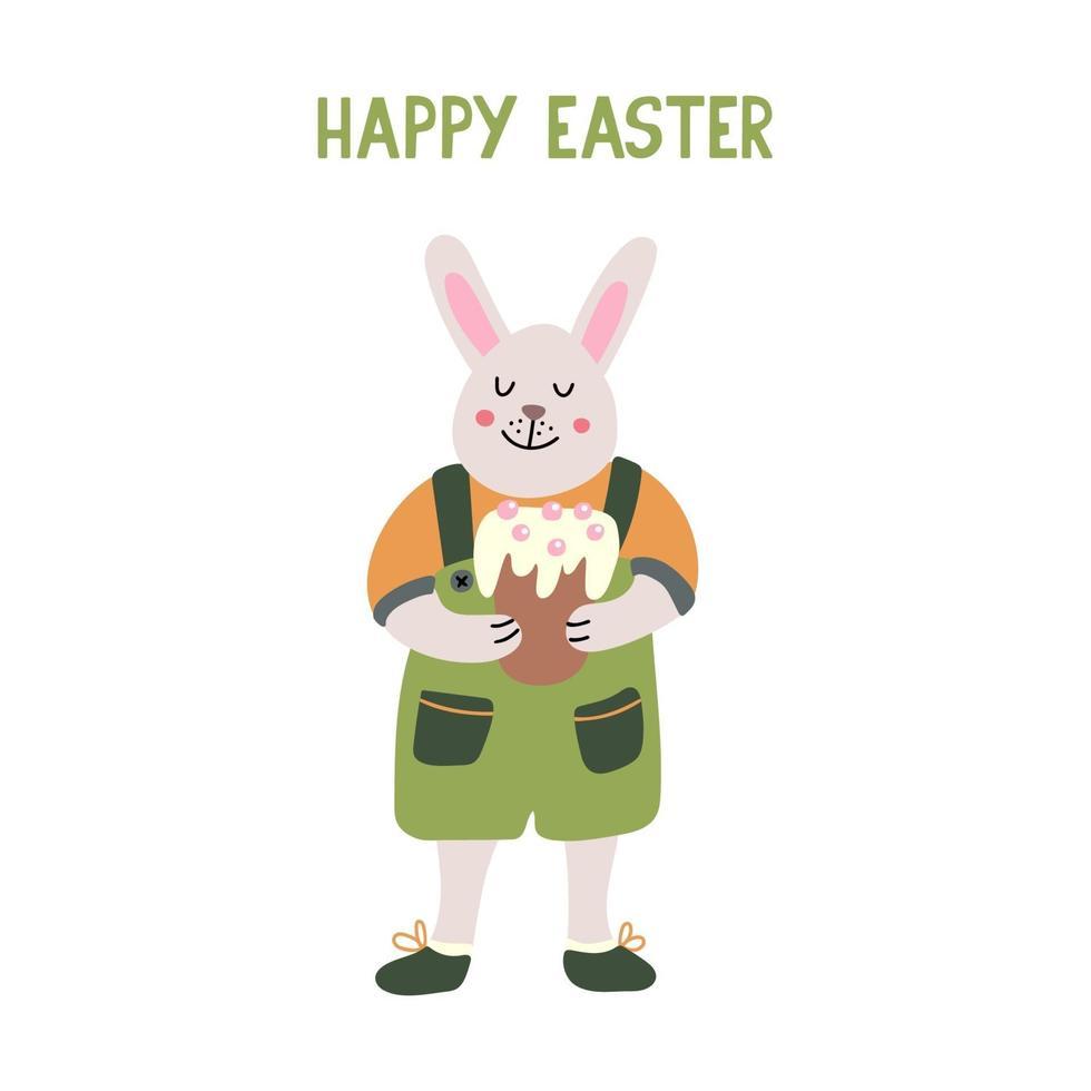 coelho engraçado sorridente ou coelhinho com um bolo de páscoa vetor