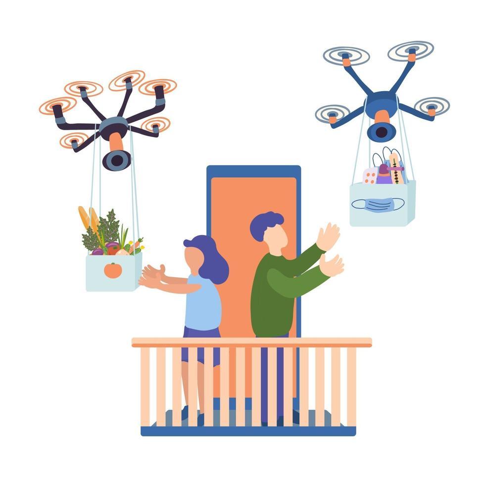 drones entregam comida e remédios para as pessoas em casa vetor