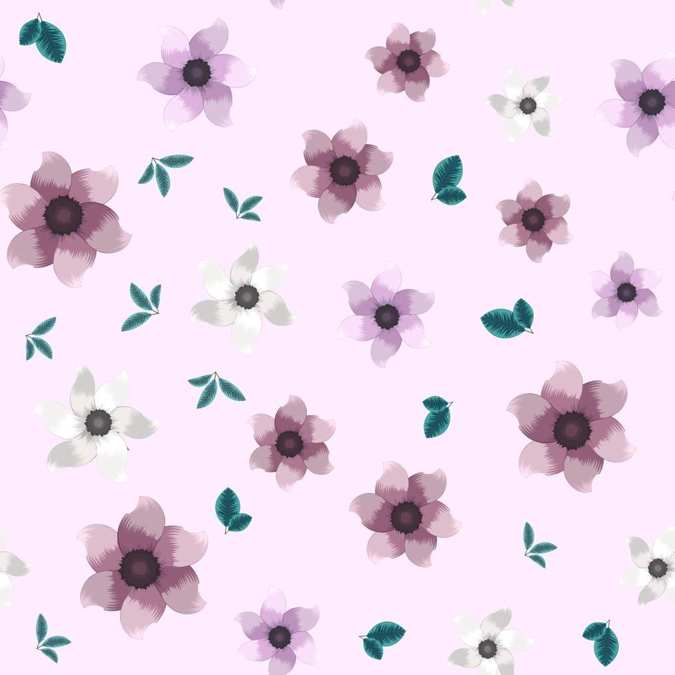 padrão floral sem costura vintage de flores coloridas no jardim para tecido vetor