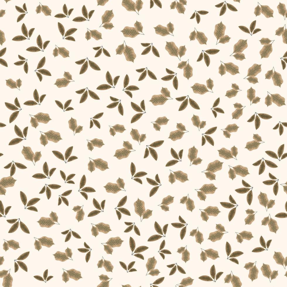 padrão de vetor sem costura de pequenas folhas, folhagem adequada para impressão