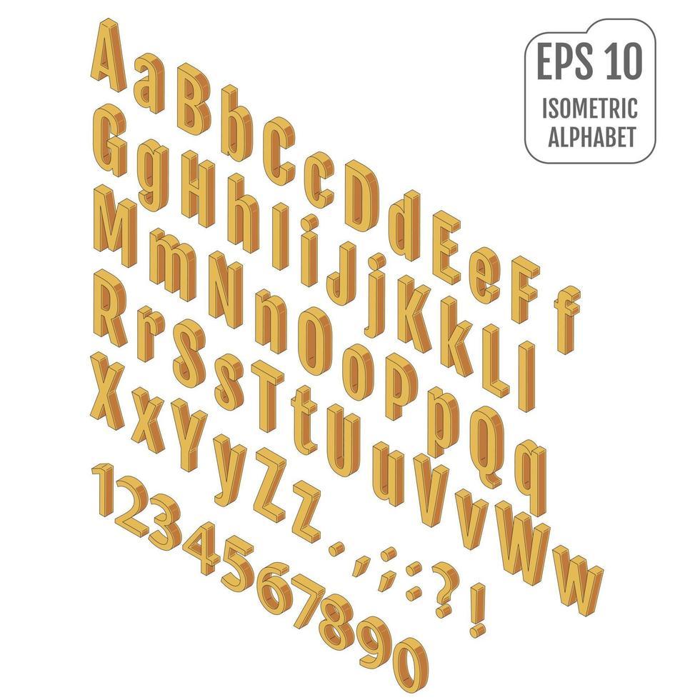 alfabeto isométrico com sombra no fundo. vetor