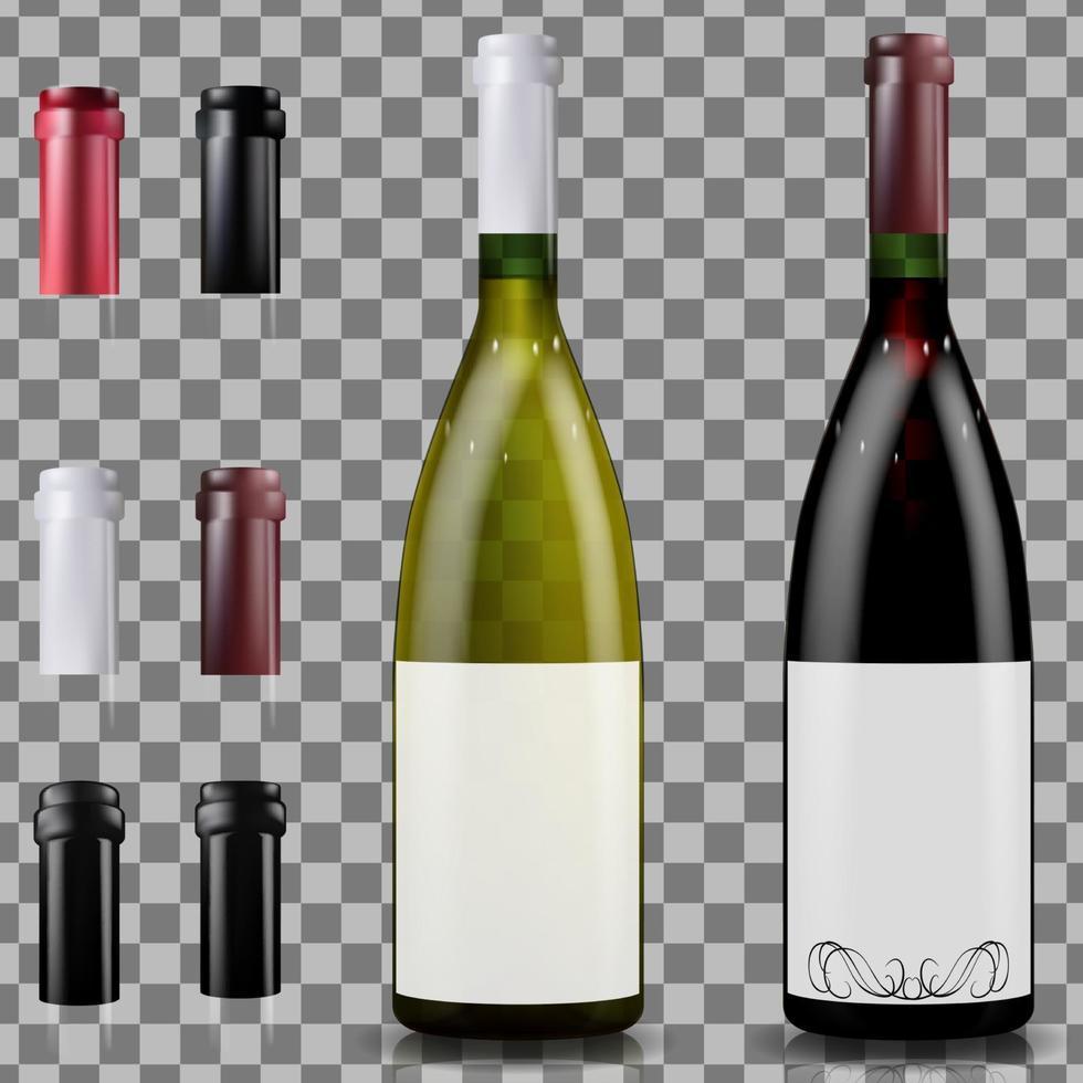 garrafas de vinho tinto e branco. bonés ou mangas, fechando a rolha vetor