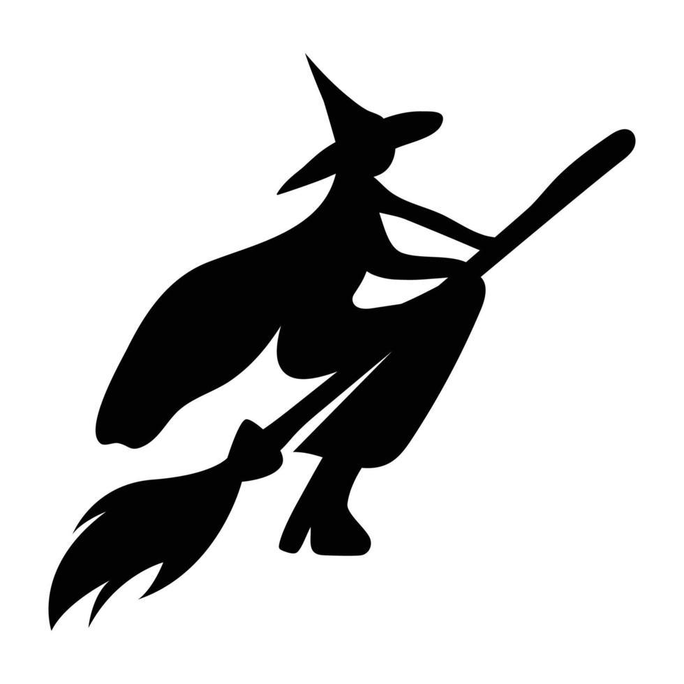 silhueta de uma bruxa voando em uma vassoura. personagem para o halloween vetor