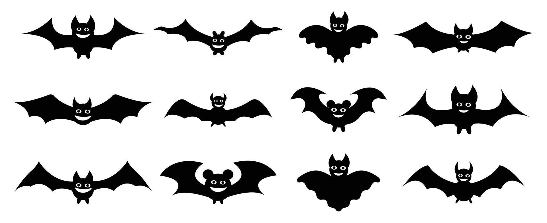 coleção de morcegos. silhueta em estilo cartoon. morcego e vampiro vetor