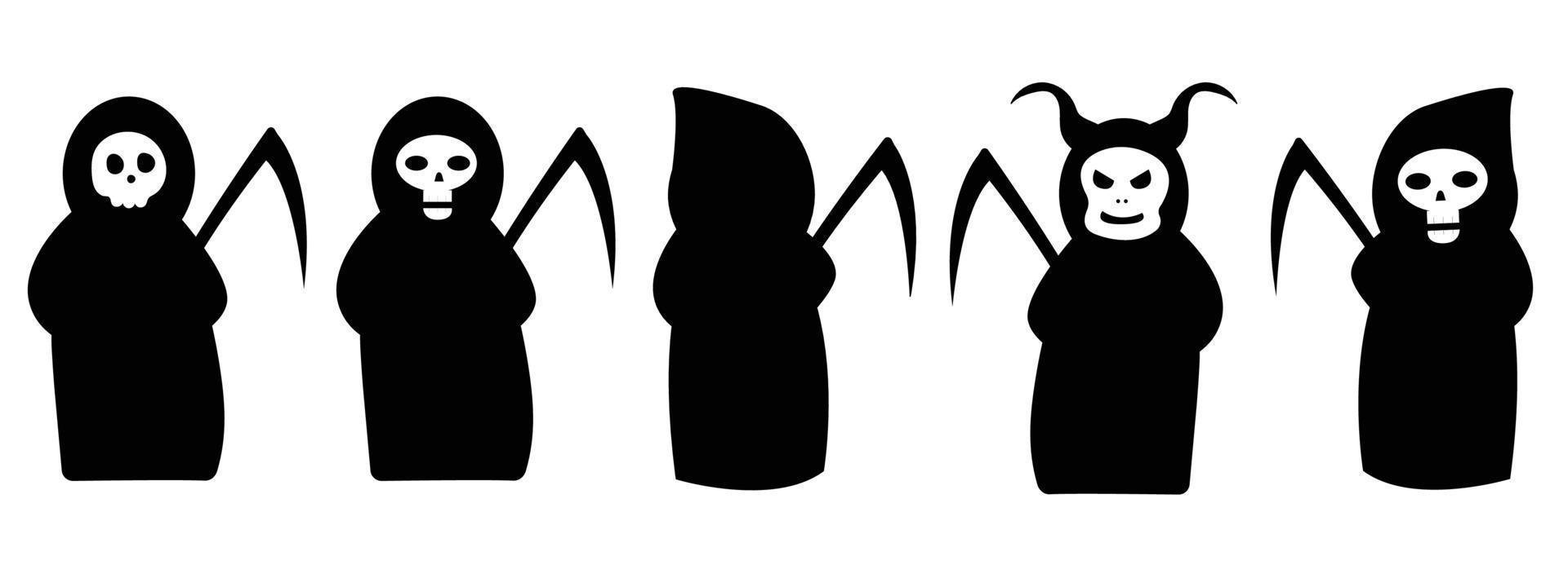 coleção de ceifeiras com tranças e vestido preto. morte com chifres vetor