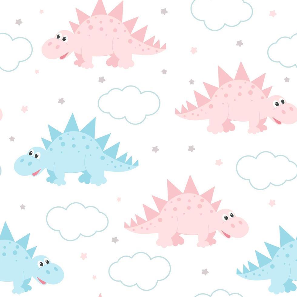 dinossauros fofos e nuvens delicadas padrão sem emenda de bebê vetor