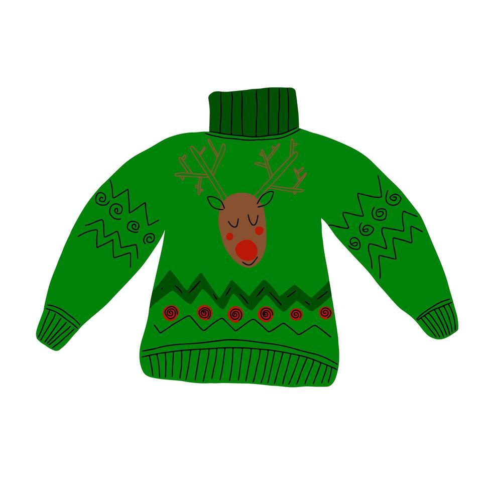 camisola feia festa de natal, ilustração vetorial, desenhada à mão. vetor