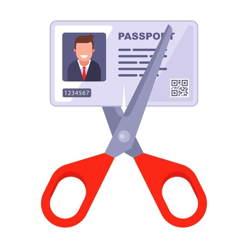 cancelar o documento de identidade. corte o papel com uma tesoura. vetor