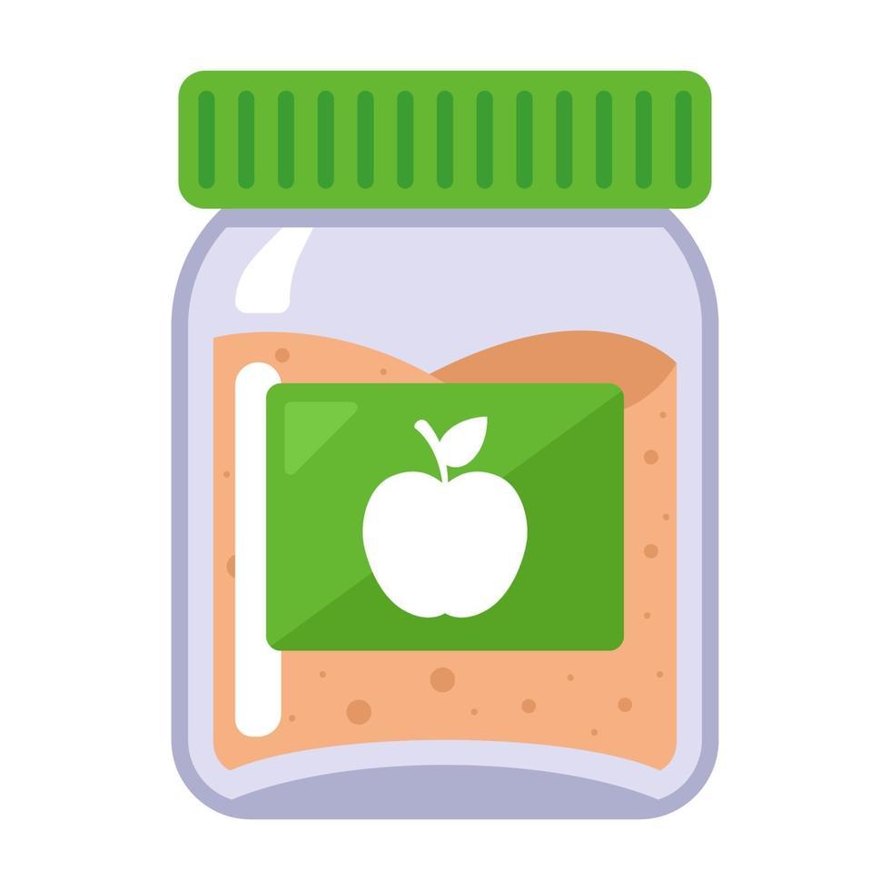 purê de maçã em uma jarra de vidro para comida de bebê. vetor
