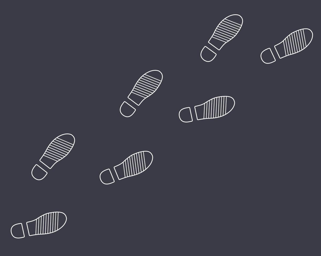 pegadas de sapatos de um homem em um fundo preto. vetor