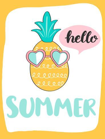 Cartão de verão brilhante bonito com abacaxi e handdrawn lettering vetor