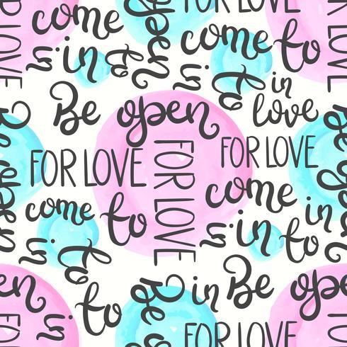 Padrão sem emenda de citação romântica. Ame a cópia do texto para o dia de são valentim. Mão, lettering, tipografia, desenho vetor