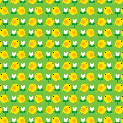Padrão de pintinho da Páscoa com tulipas em fundo verde vetor
