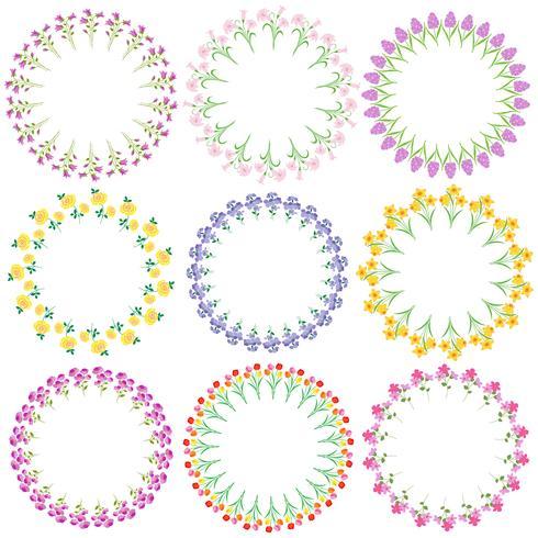 quadros de círculo de flores de primavera vetor
