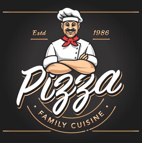 Design de emblema de pizzaria vetor