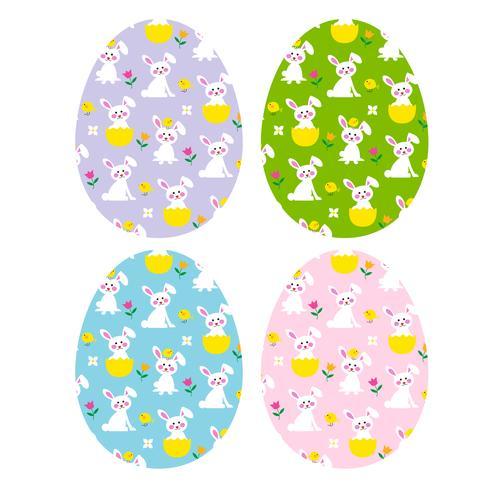 ovos de páscoa com coelhinhos bonitinhos e filhotes vetor