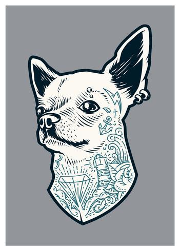 Chihuahua tatuada vetor