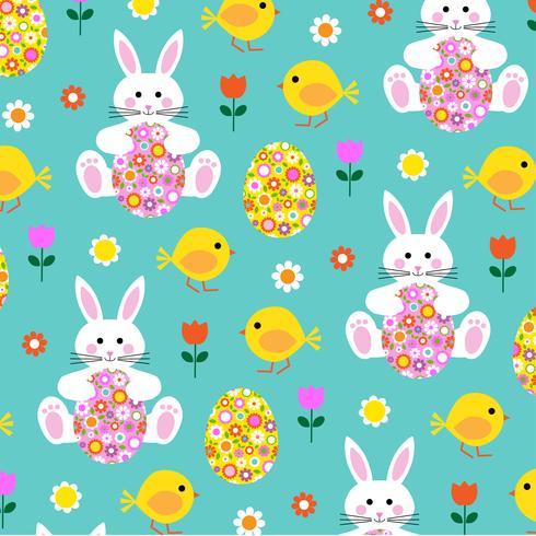 Pintainho de coelhinho da Páscoa e padrão de ovo de flor vetor
