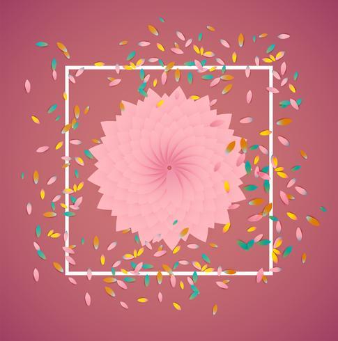 Flores coloridas com borda branca e folhas, ilustração vetorial vetor