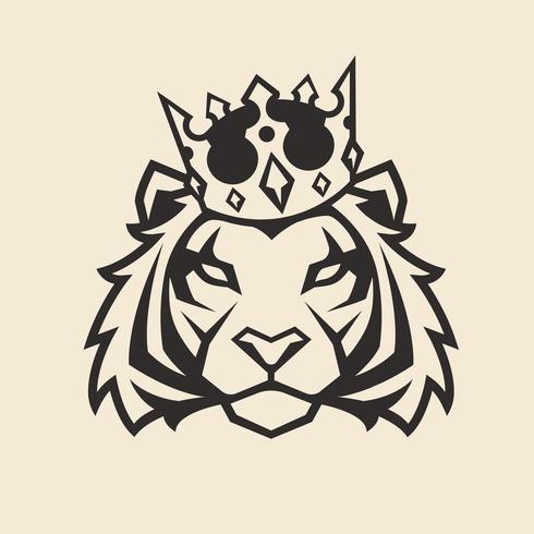 Tigre na mascote de vetor de coroa