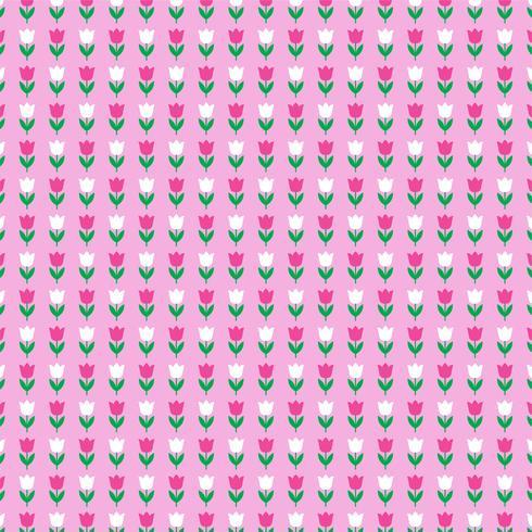 padrão de tulipa no fundo rosa vetor