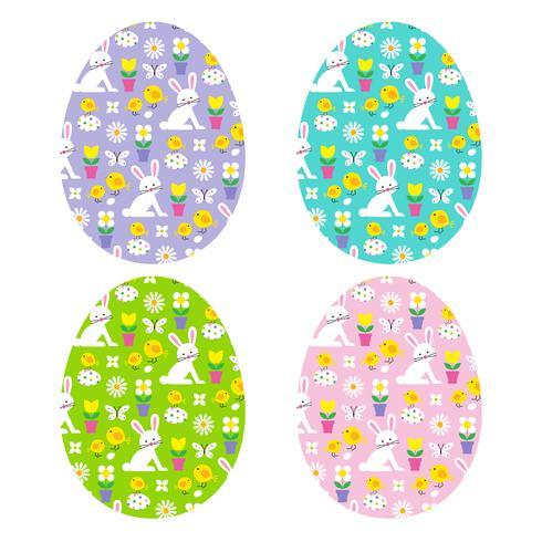 Ovos de Páscoa com padrões de coelhinha vetor