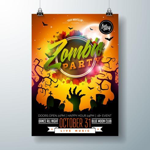 Ilustração de flyer Halloween Zombie Party vetor