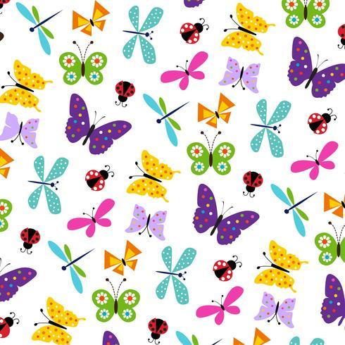 padrão de joaninha de borboleta vetor