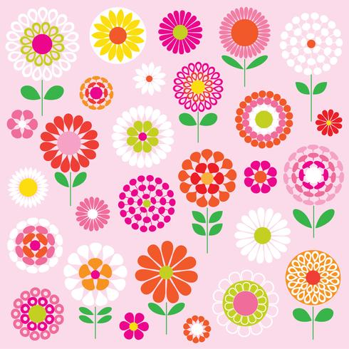 gráficos de clipart de flores de vetor mod