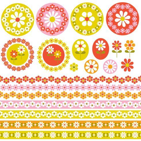 quadros florais de círculo retro e fronteiras clipart vetor