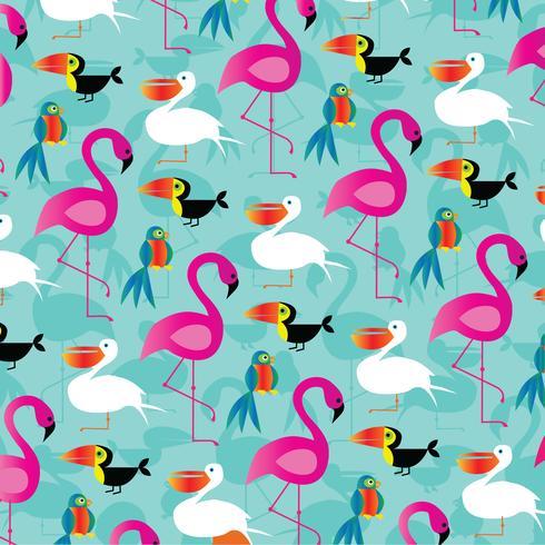 padrão de fundo de pássaros tropicais vetor