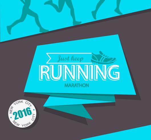 Maratona de corrida e emblema de corrida. vetor