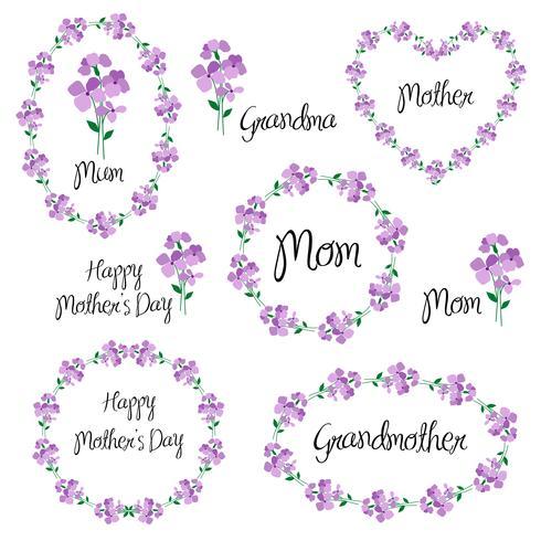 feliz dia das mães com violetas vetor