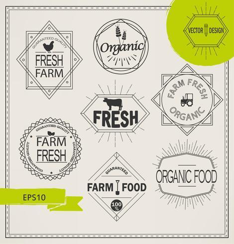 agricultura e ícones de fazenda orgânica vetor